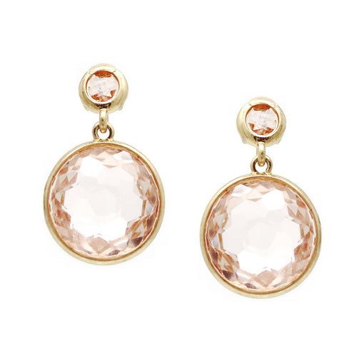 Round Glass Stone Drop Earrings