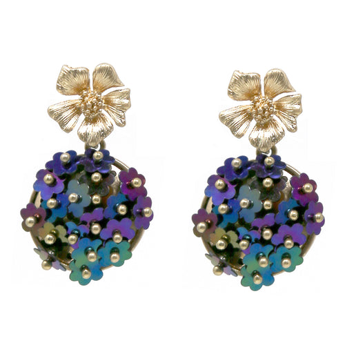 Sequin Flower Cluster Drop Earrings