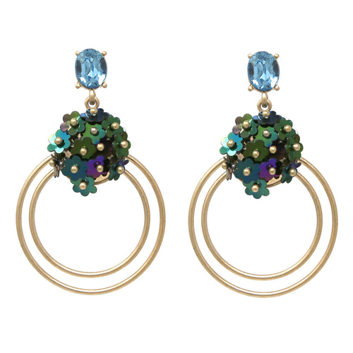 Sequin Flower Cluster Double Hoop Drop Earrings
