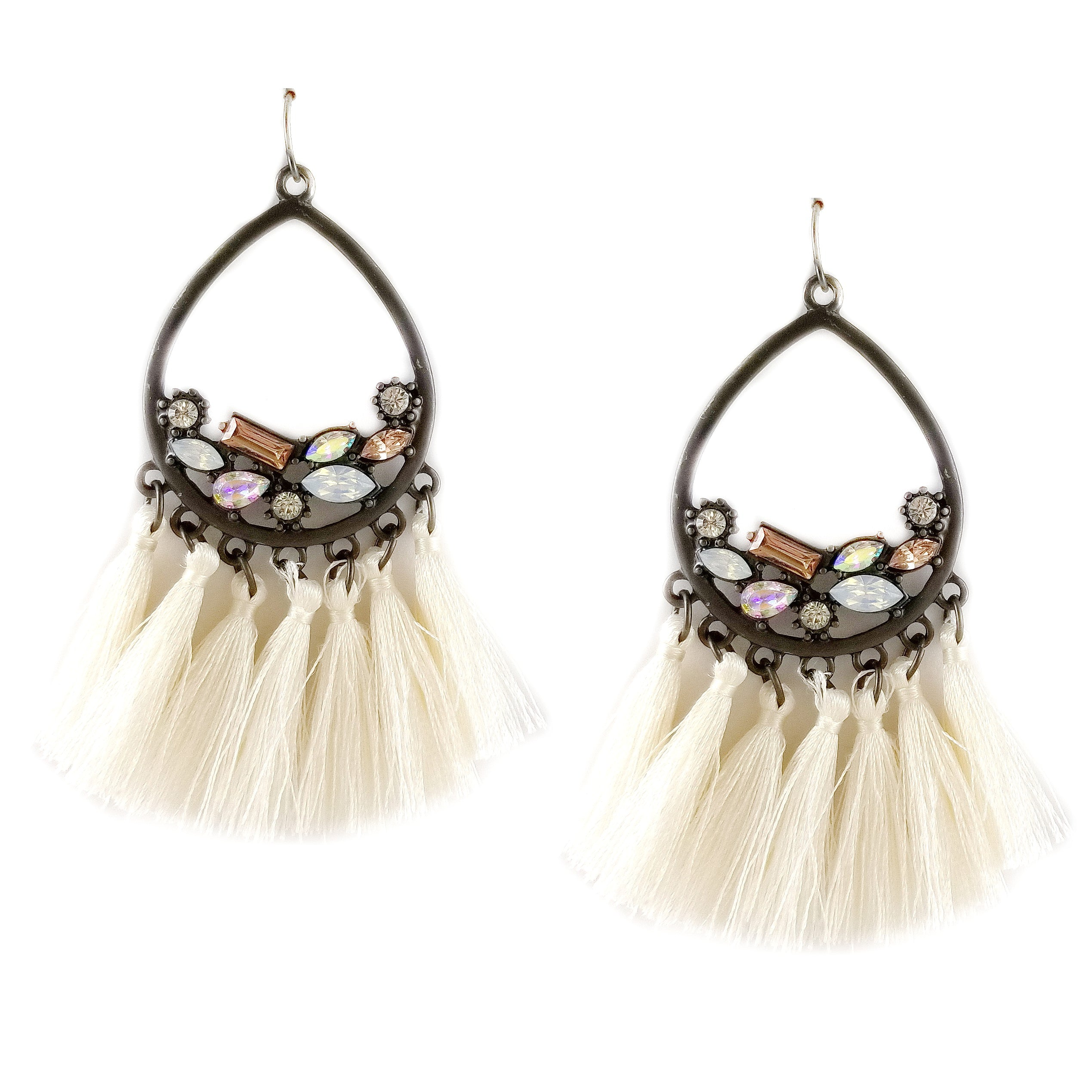 fringe stone embellished earrings teardrop products usjewelryhouse tassel
