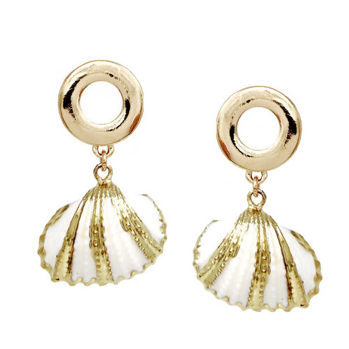 Gold Striped Shell Drop Earrings