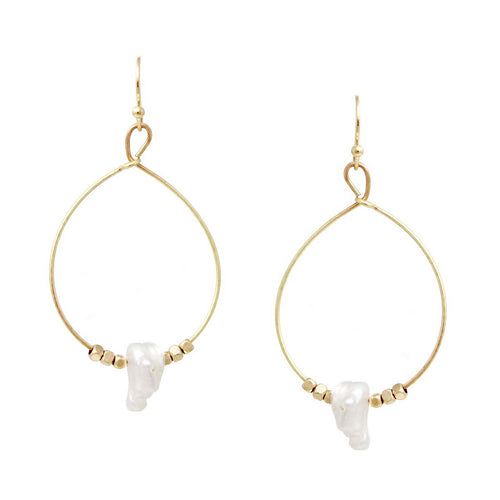 Natural Pearl Charm Teardrop Hoop Earrings