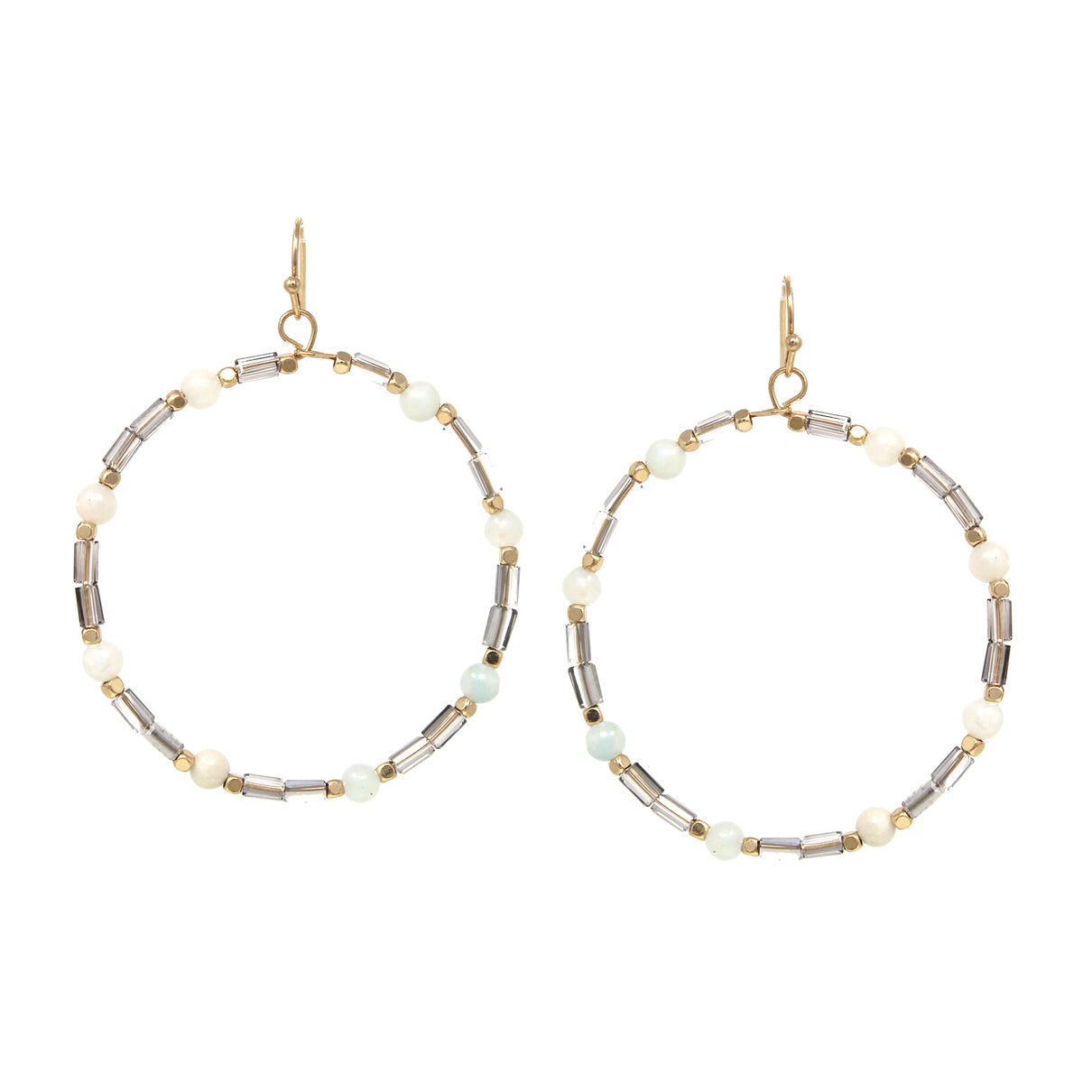 Natural Stone With Glass Beaded Hoop Drop Earrings