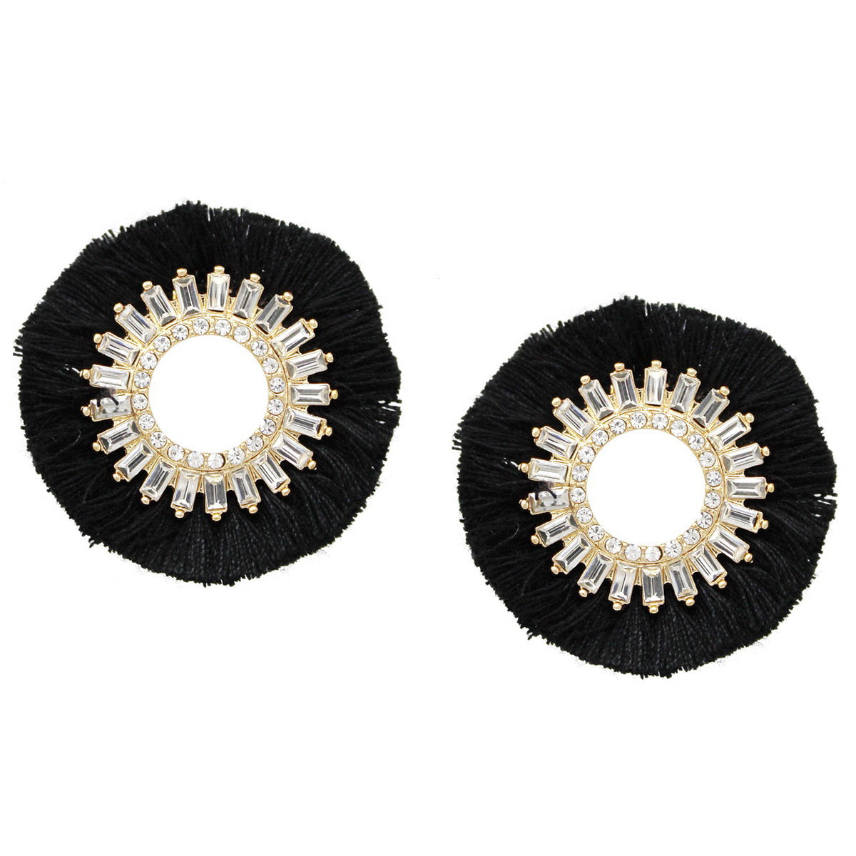 Glass Stone Pave Tassel Fringe Stud Earrings