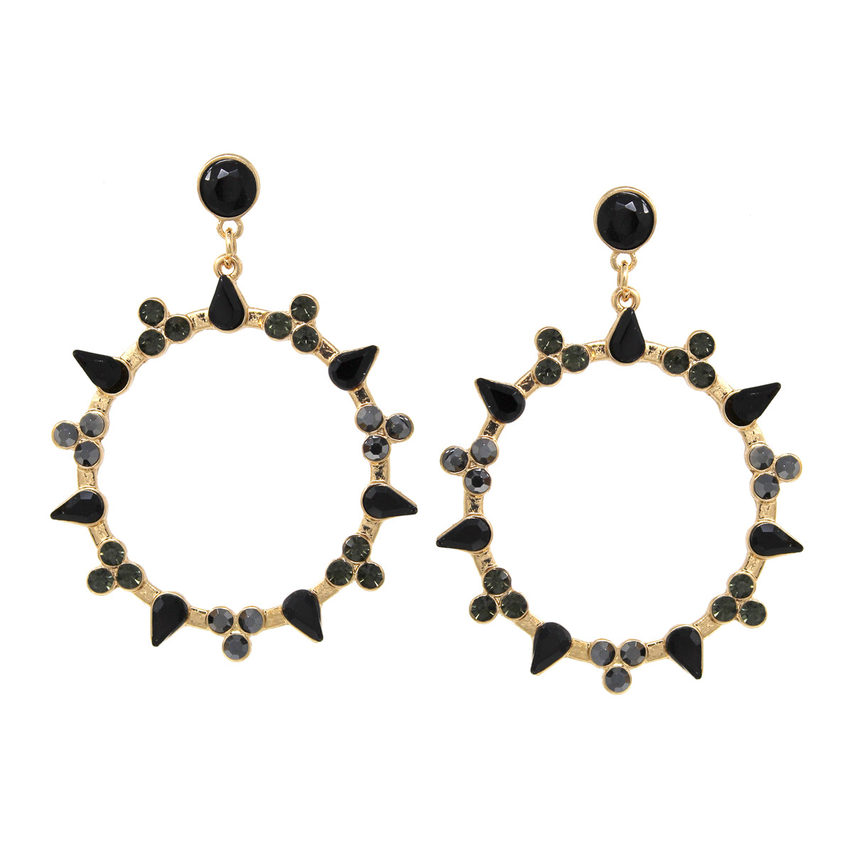 Glass Stone Pave Hoop Drop Earrings