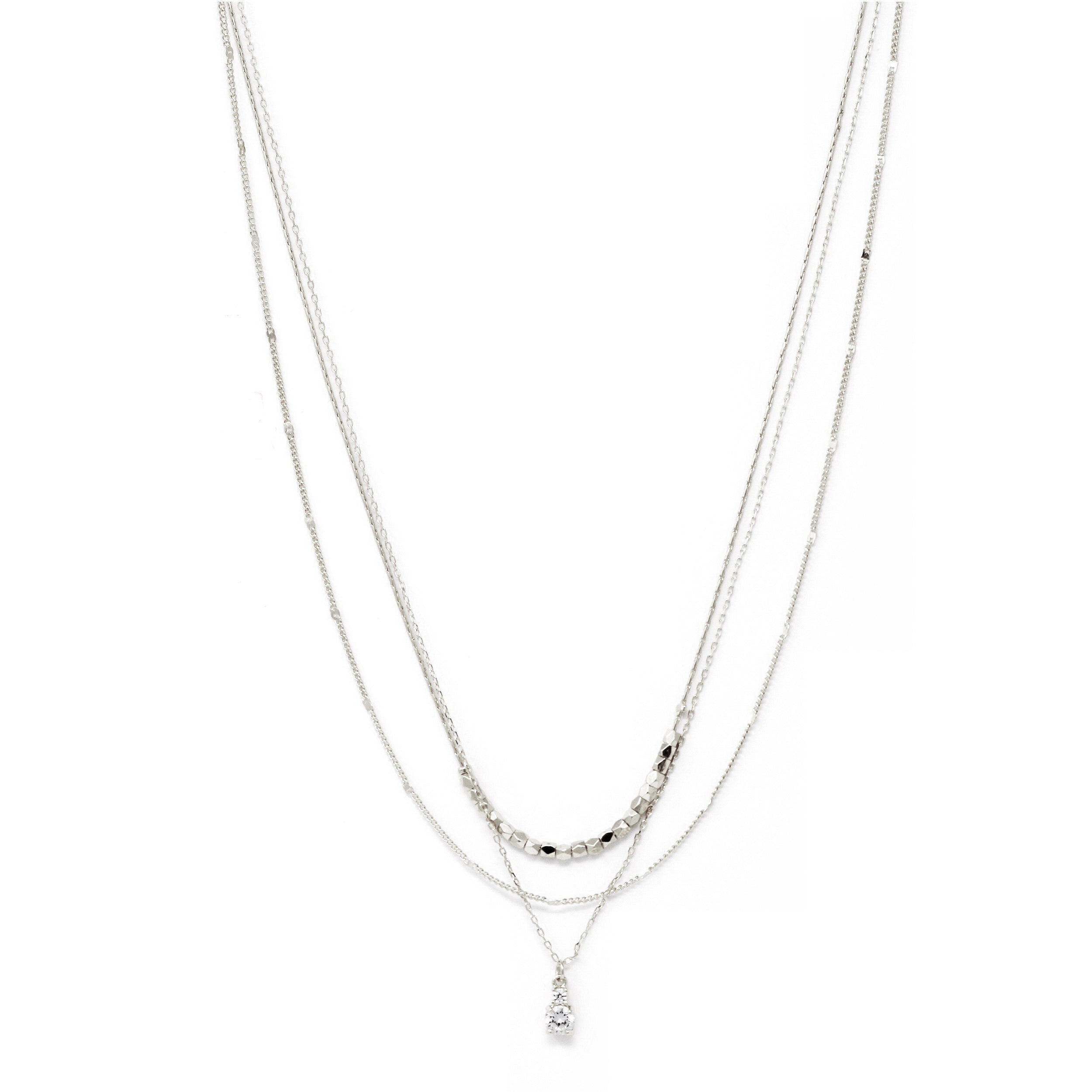 Premium Cubic Zirconia Metal Bead Short Layered Necklace