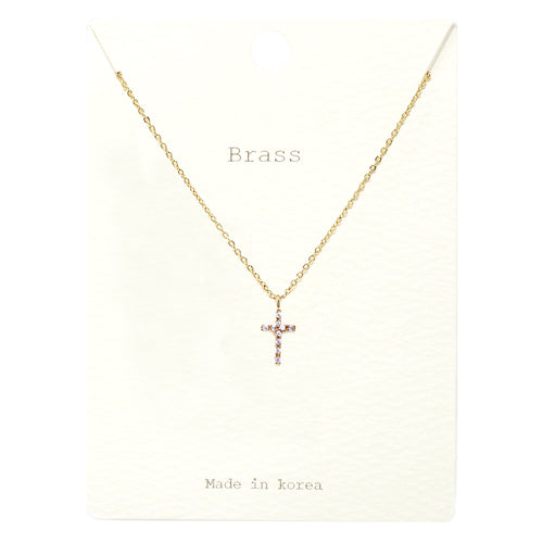 Cubic Zirconia Pave Cross Pendant Short Necklace