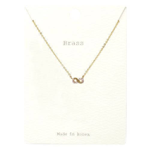 Cubic Zirconia Pave infinity Pendant Short Necklace