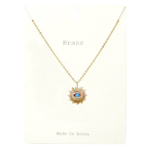 Color Cubic Zirconia Pave Evil Eye Pendant Short Necklace
