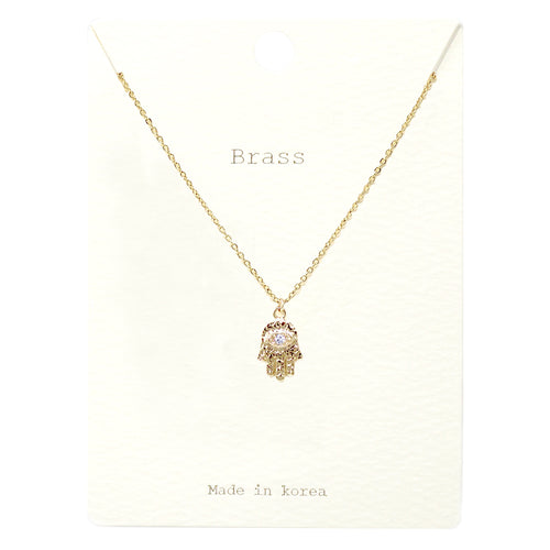 Cubic Zirconia With Hamsa Pendant Short Necklace