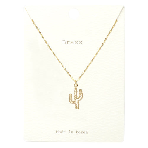 Cactus Pendant Short Necklace