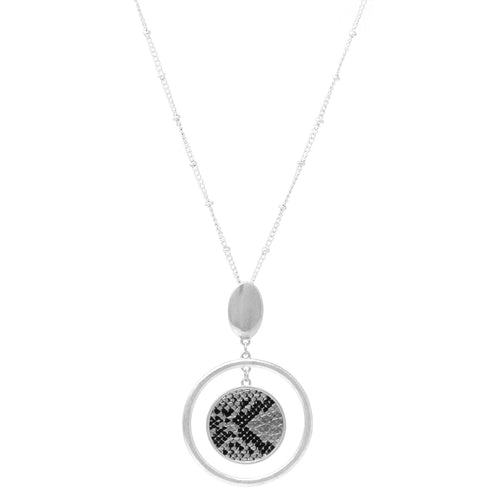 Snake Skin Print Faux Leather Disc With Hoop Layered Pendant Long Necklace