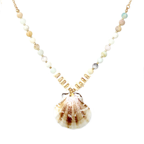 Shell Pendant With Natural Stone Beaded Short Necklace
