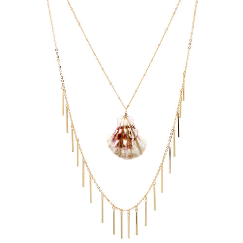 Shell Pendant With Metal Bar Fringe Layered Necklace