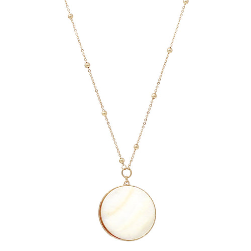Shell Disc Pendant With Ball Chain Long Necklace
