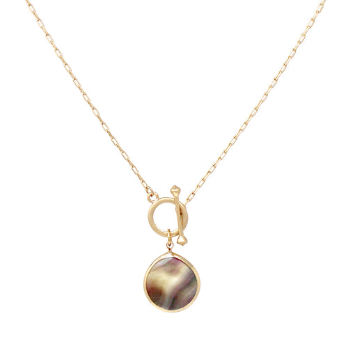 Shell Disc Pendant With Toggle Short Necklace
