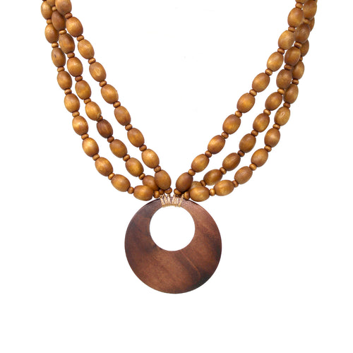 Wood Disc Pendant With Triple Strand Layered Short Necklace