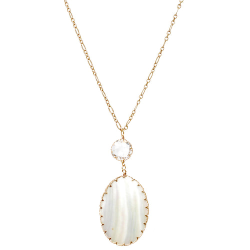 Glass Stone Oval Shell Pendant Long Necklace