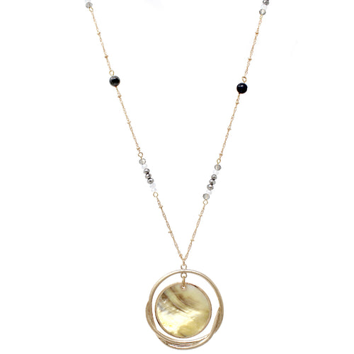 Abalone Shell Disc Hoop Layered Pendant Glass Beaded Long Necklace