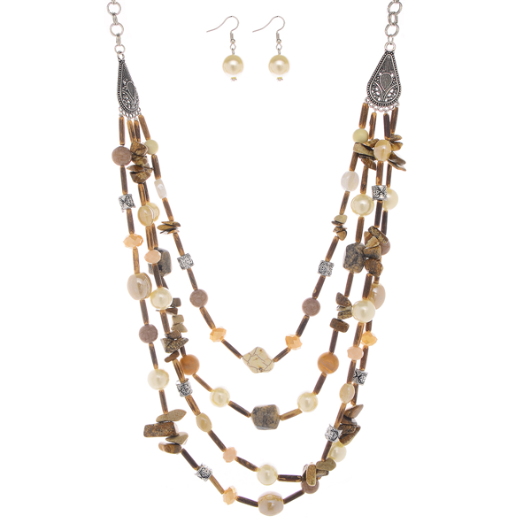 Wooden Beads with Floating Natural Stone Multi Layered Collar Necklace