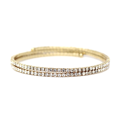 Double Row Rhinestone Pave Wrap Bangle Bracelet