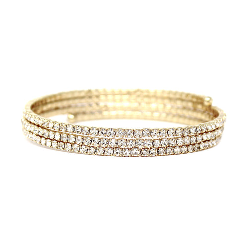 3 Row Rhinestone Pave Wrap Bangle Bracelet