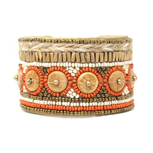 Ethnic Wood Disc With Seed Bead Embellished Cuff Bracelet