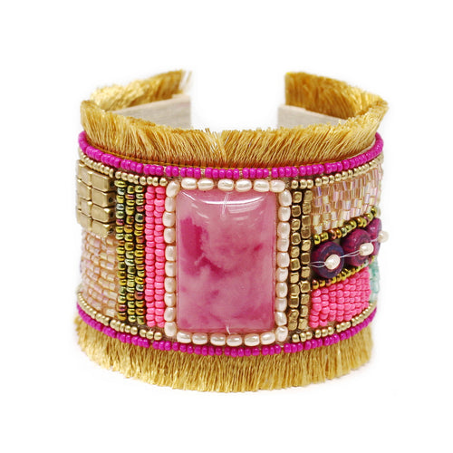 Ethnic Sequin And Seed Bead Cuff Bracelet With Rectangular Stone