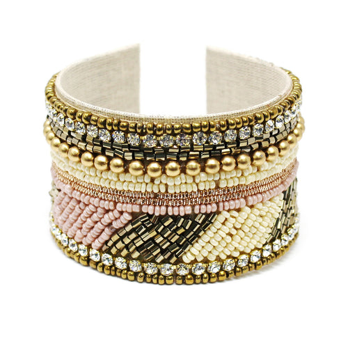 Ethnic Seed Beaded Bracelet With Rhinestone Trim
