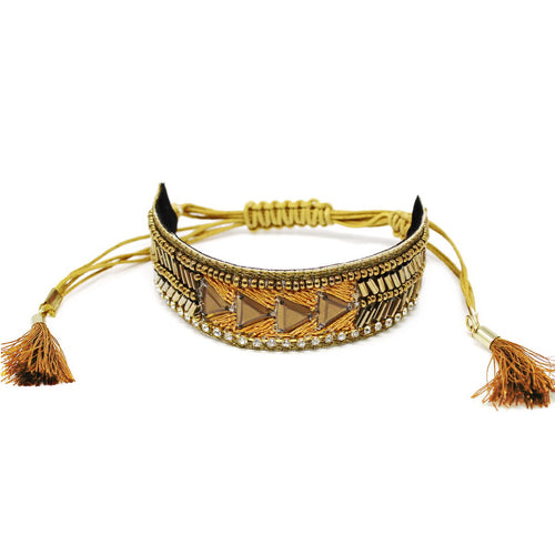 Ethnic Triangle Bead Embroidered Bracelet