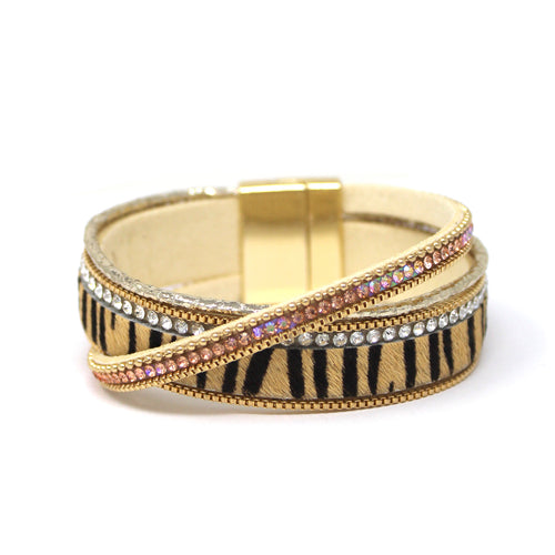 Animal Print With Glass Stone Crisscross Magnetic Bracelet