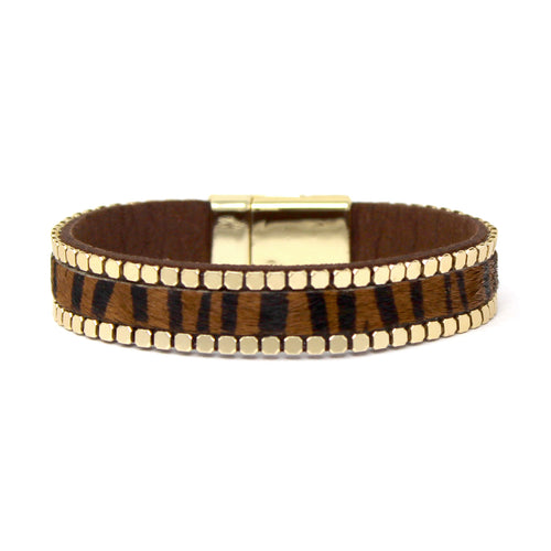 Animal Print Faux Leather With Metal Chain Embellished Magnetic Bracelet