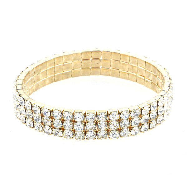 Triple Strands Stretch Rhinestone Bracelet