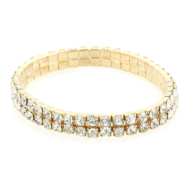 Double Strands Stretch Rhinestone Bracelet