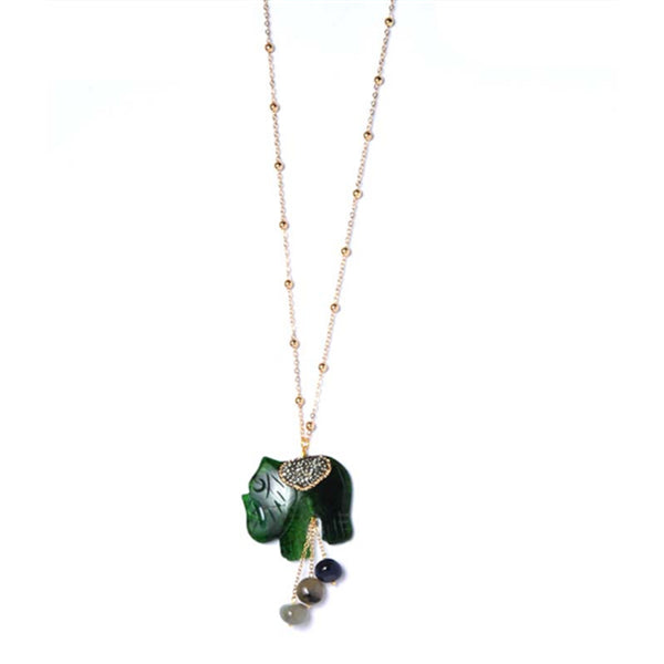 Natural Stone Elephant Pendant Necklace