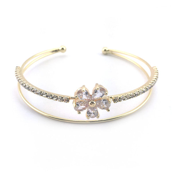 Double Layered Rhinestone Bridal Cuff Bracelet