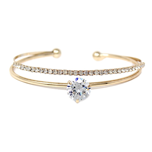 Cubic Zirconia Stone With Pave Bar Layered Bridal Cuff Bracelet
