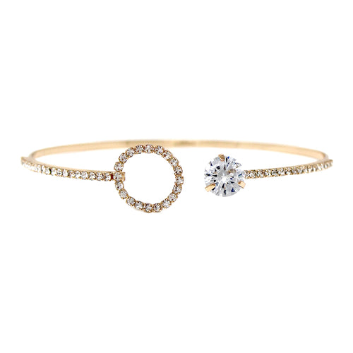 Cubic Zirconia Stone With Pave Hoop Bridal Bangle Bracelet