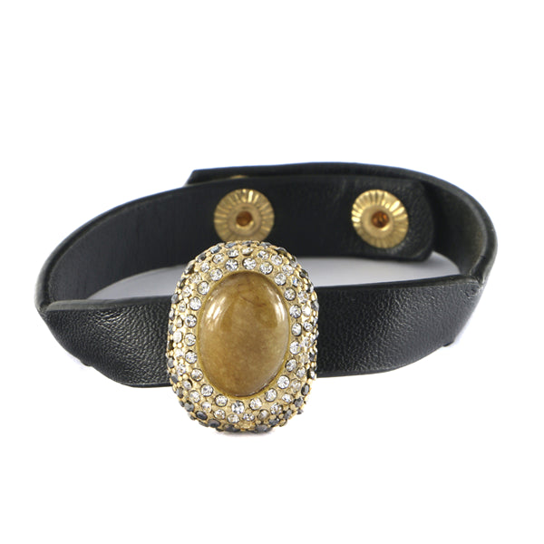 Semi Precious Stone Leather Bracelet