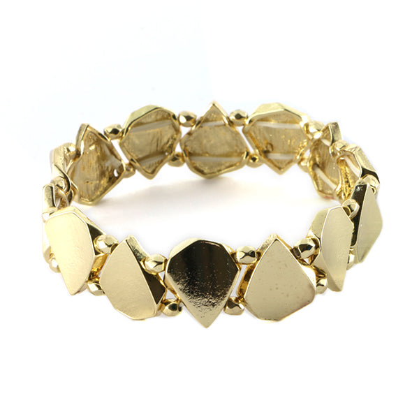 Abstract Cut Metal Stretch Bracelet
