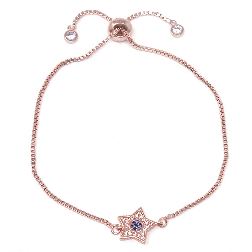 Color CZ Pave Star Sliding Bead Bracelet