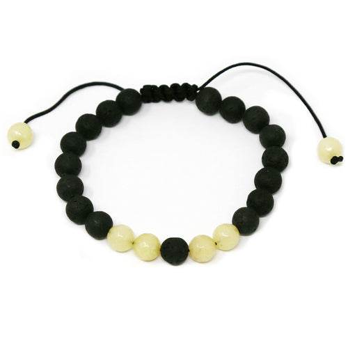 Lava Bead And Natural Stone Adjustable Bracelet