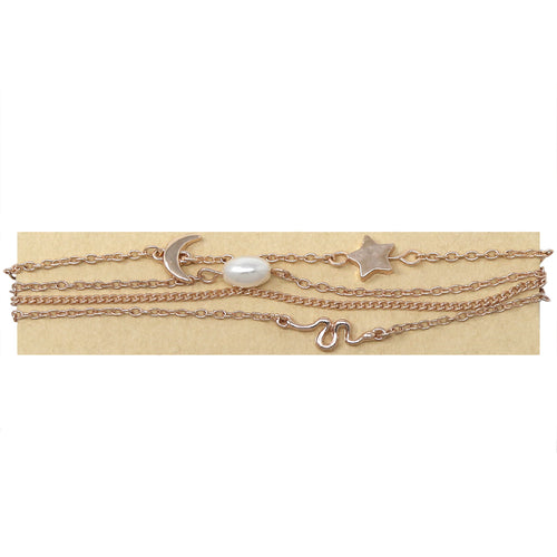 Metal Star/ Moon And Pearl Bead Charm Chain Bracelet Multi Set