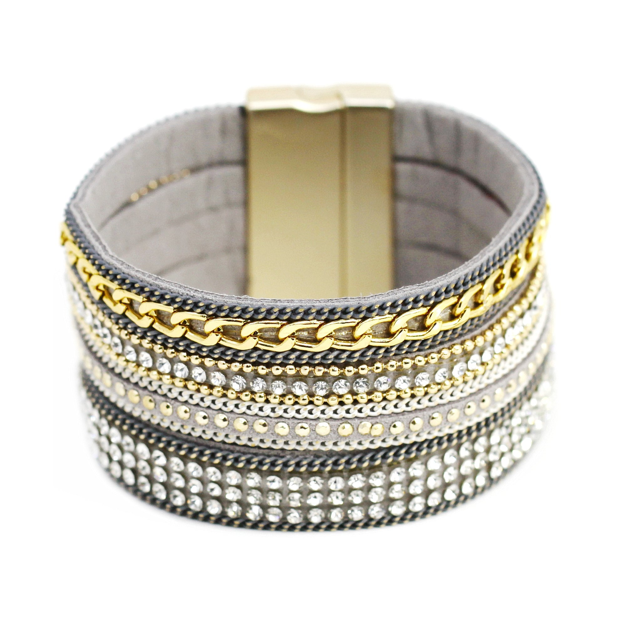 Stone Embellished Linked Chain Magnetic Bracelet