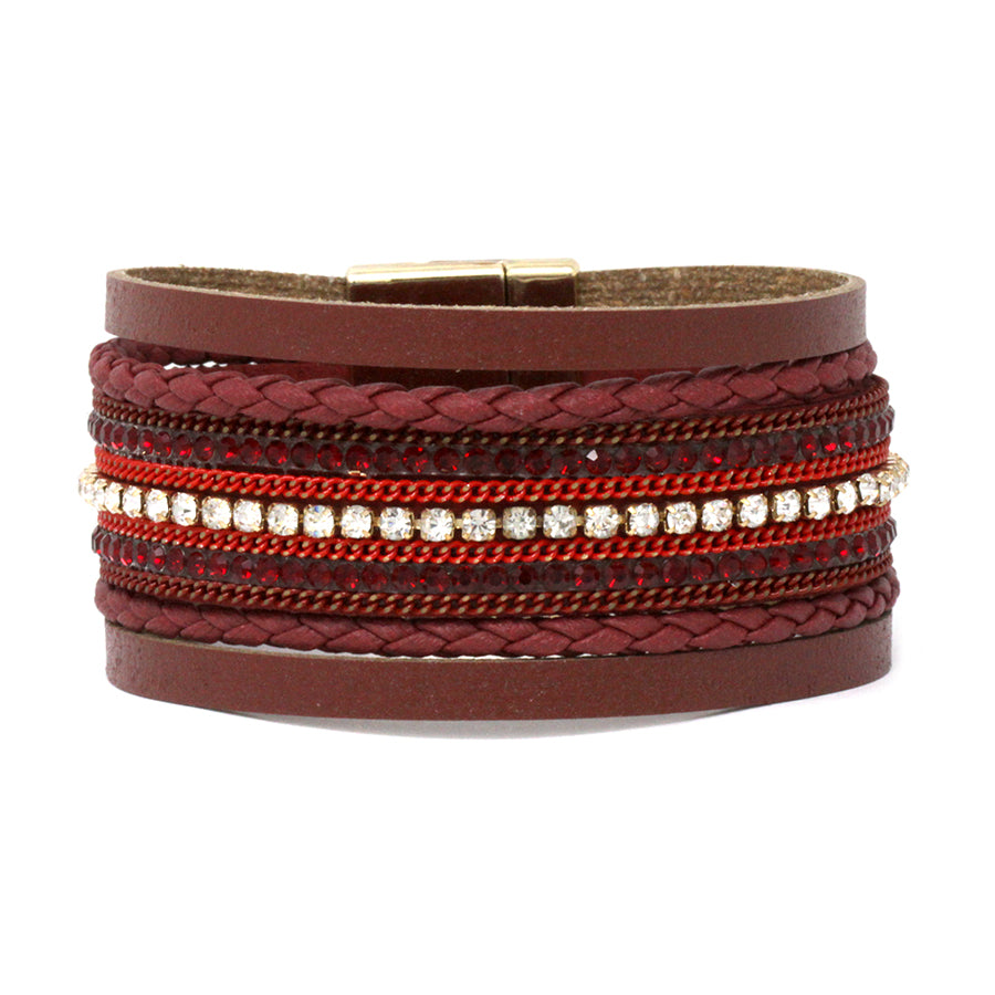 Rhinestone With Braided Leather Multi Strands Magnetic Bracelet