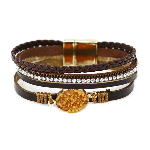 Oval Synthetic Druzy Leather Four Strand Magnetic Bracelet