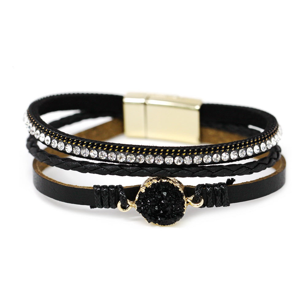 Round Synthetic Druzy Triple Leather Strand Magnetic Bracelet