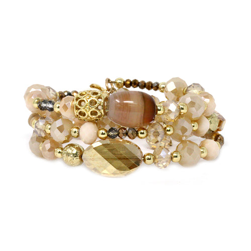 Semi-Precious Stone With Glass Stone Beaded Memory Wire Bracelet