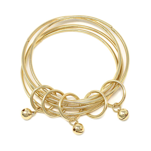 Bell Dangle Multi Layered Metal Bangle Bracelet