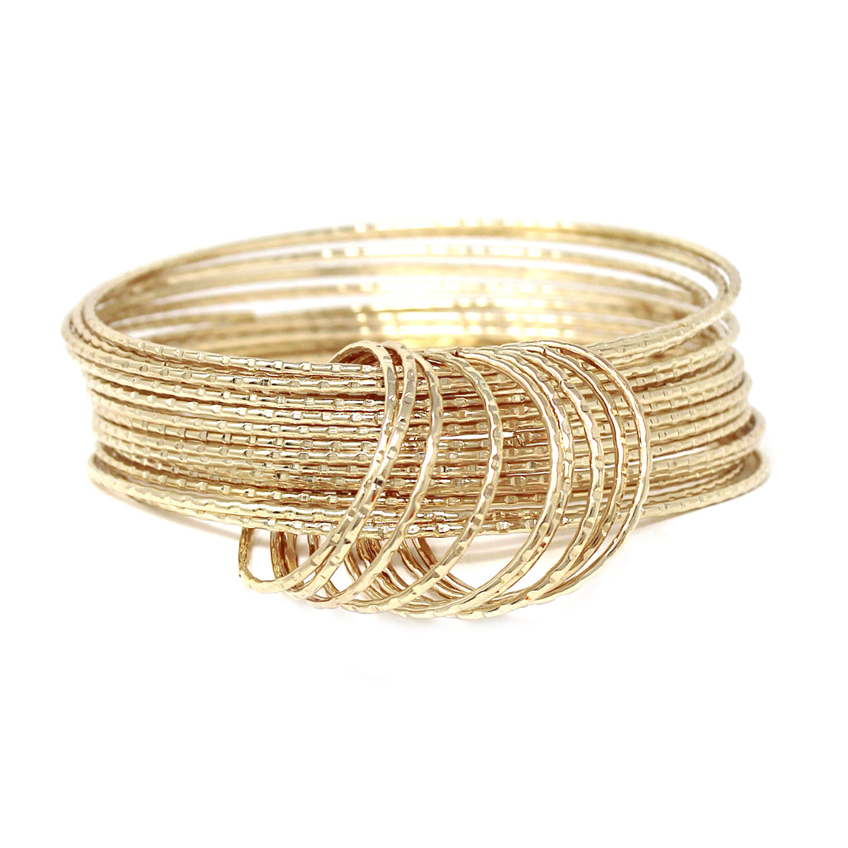 Ring Linked Textured Metal Multi Layered Bangle Bracelet